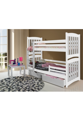 190cm DOUBLE PINE BUNK BED 'SERAFIN' WHITE AND GREY WITH DRAWERS