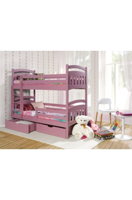190cm DOUBLE PINE BUNK BED 'JAKUB II' PINK ACRYLIC WITH DRAWERS