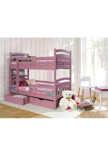 190cm DOUBLE PINE BUNK BED 'JAKUB II' PINK ACRYLICWITH DRAWERS