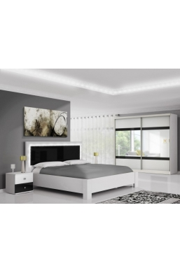 FURNITURE SET 'MEZO' WHITE AND BLACK GLOSS WITH LED