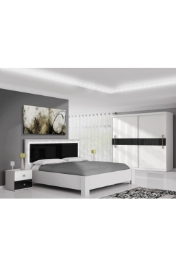 FURNITURE SET 'MERCUR' WHITE AND BLACK GLOSS WITH LED