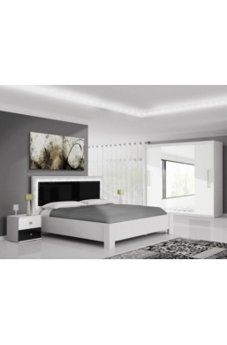 FURNITURE SET 'LINDA' WHITE AND BLACK GLOSS WITH LED