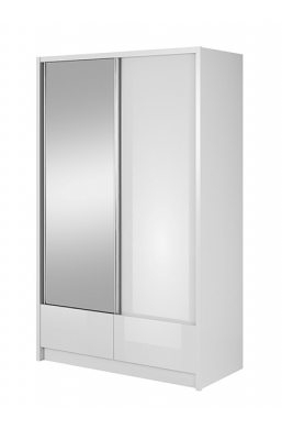 130cm SLIDING DOOR WARDROBE 'ARIA I' WHITE SIDES AND WHITE GLOSS FRONT