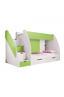 BUNK BEDS WITH DRAWERS AND STORAGE MARCINEK GREEN