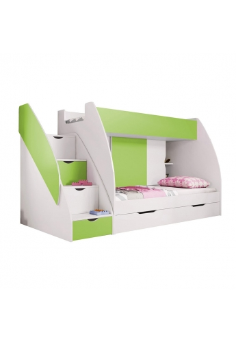 BUNK BEDS WITH DRAWERS AND STORAGE GREEN