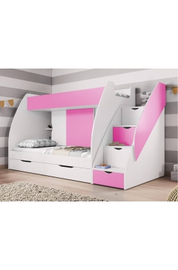 BUNK BEDS WITH DRAWERS AND STORAGE MARCINEK PINK