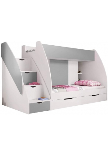 BUNK BEDS WITH DRAWERS AND STORAGE MARCINEK GRAY