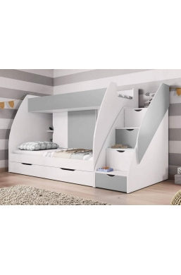 BUNK BEDS WITH DRAWERS AND STORAGE MARCINEK GREY