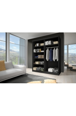 183cm 2 SLIDING DOOR WARDROBE F02 BLACK SIDES 'MULTI'
