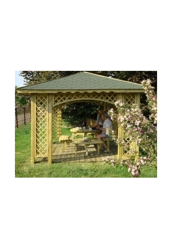 Natalia WOODEN GAZEBO WITH TRELLIS 10ft x 10ft (3m x 3m) (external 3.5m x 3.5m - 12ft x 12ft)