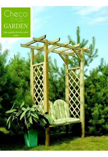 Wooden Arbour with Bench