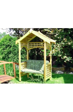 Big Wooden Arbour with Bench