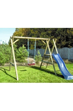 Garden Wooden Swing Seat with Slide 'Mikolaj'