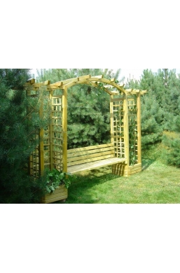 Arched pergola combined with bench