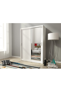 130cm 2 SLIDING DOOR WARDROBE MAJA WHITE