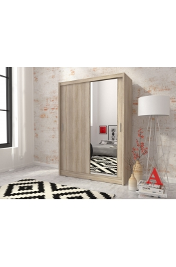 NEW SLIDING DOOR WARDROBE 130cm MAJA SONOMA OAK