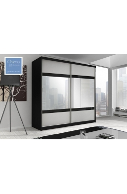 203cm SLIDING DOOR WARDROBE WITH MIRROR 'MULTI' FRONT 02 BLACK