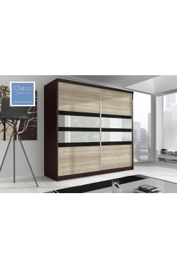 203cm SLIDING DOOR WARDROBE 'MULTI' FRONT 09 CAMBRIDGE OAK