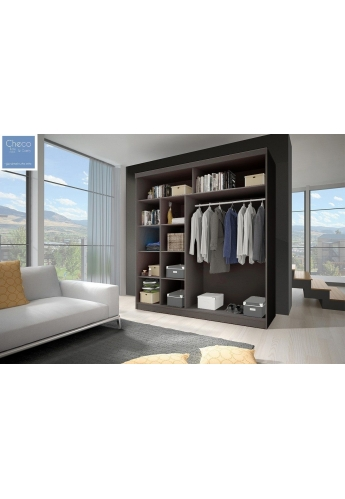 203cm SLIDING DOOR WARDROBE WITH MIRROR 'MULTI' FRONT 03 SONOMA OAK