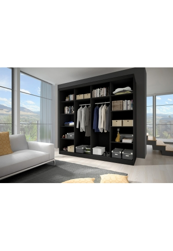 233cm SLIDING DOOR WARDROBE 'MULTI' FRONT F01 BLACK