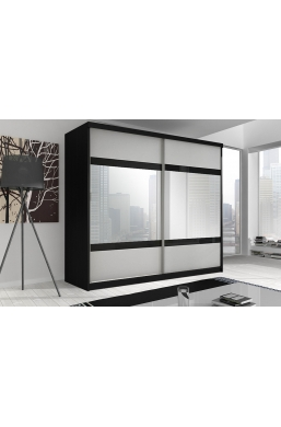 233cm SLIDING DOOR WARDROBE 'MULTI' FRONT F02 BLACK