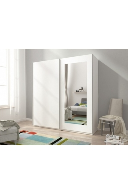 150cm SLIDING DOOR WARDROBE WHITE WITH MIRROR MIKA VIII